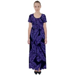 Tropical Leaves Purple High Waist Short Sleeve Maxi Dress
