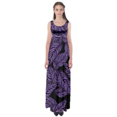 Tropical Leaves Purple Empire Waist Maxi Dress