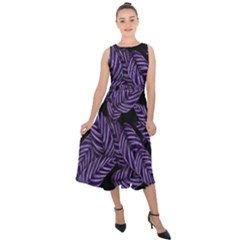 Tropical Leaves Purple Midi Tie Back Chiffon Dress