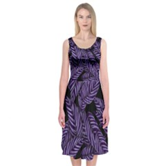 Tropical Leaves Purple Midi Sleeveless Dress