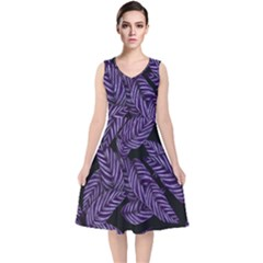 Tropical Leaves Purple V Neck Midi Sleeveless Dress