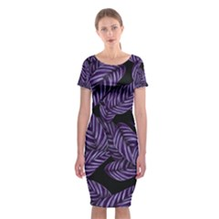 Tropical Leaves Purple Classic Short Sleeve Midi Dress