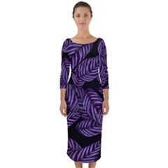 Tropical Leaves Purple Quarter Sleeve Midi Bodycon Dress