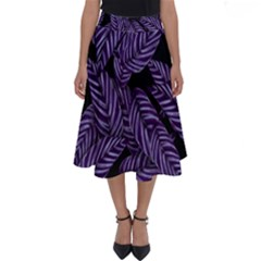 Tropical Leaves Purple Perfect Length Midi Skirt