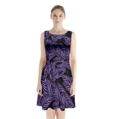 Tropical Leaves Purple Sleeveless Waist Tie Chiffon Dress