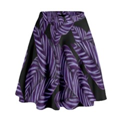Tropical Leaves Purple High Waist Skirt