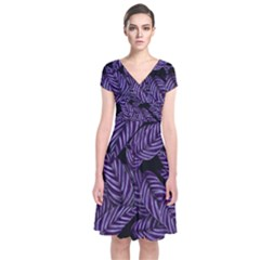Tropical Leaves Purple Short Sleeve Front Wrap Dress