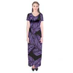 Tropical Leaves Purple Short Sleeve Maxi Dress