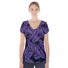 Tropical Leaves Purple Short Sleeve Front Detail Top