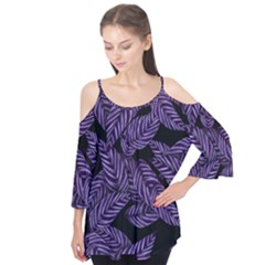 Tropical Leaves Purple Flutter Tees