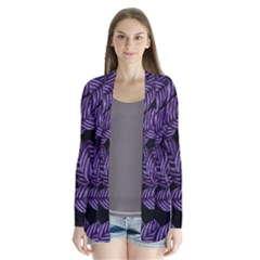 Tropical Leaves Purple Drape Collar Cardigan by vintage2030