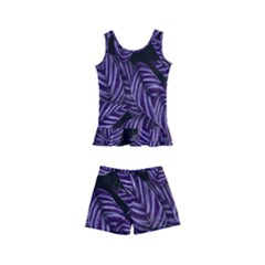 Tropical Leaves Purple Kid s Boyleg Swimsuit