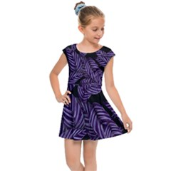 Tropical Leaves Purple Kids Cap Sleeve Dress