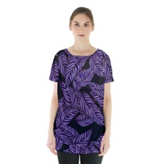 Tropical Leaves Purple Skirt Hem Sports Top