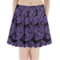 Tropical Leaves Purple Pleated Mini Skirt