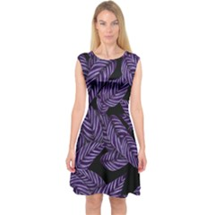 Tropical Leaves Purple Capsleeve Midi Dress