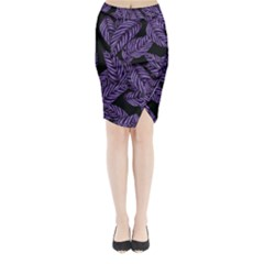 Tropical Leaves Purple Midi Wrap Pencil Skirt