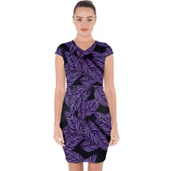 Tropical Leaves Purple Capsleeve Drawstring Dress