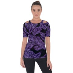 Tropical Leaves Purple Shoulder Cut Out Short Sleeve Top