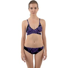 Tropical Leaves Purple Wrap Around Bikini Set