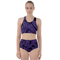 Tropical Leaves Purple Racer Back Bikini Set