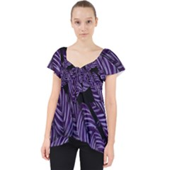 Tropical Leaves Purple Lace Front Dolly Top
