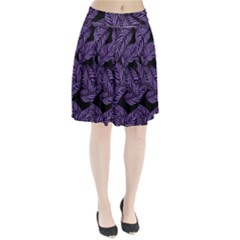 Tropical Leaves Purple Pleated Skirt