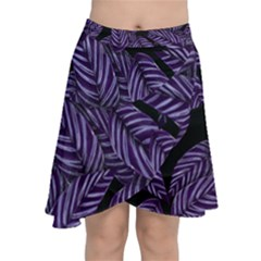 Tropical Leaves Purple Chiffon Wrap Front Skirt