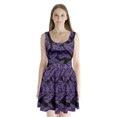 Tropical Leaves Purple Split Back Mini Dress