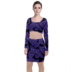Tropical Leaves Purple Top And Skirt Sets