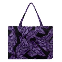 Tropical Leaves Purple Medium Tote Bag
