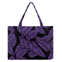 Tropical Leaves Purple Zipper Medium Tote Bag