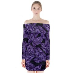 Tropical Leaves Purple Long Sleeve Off Shoulder Dress