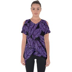 Tropical Leaves Purple Cut Out Side Drop Tee