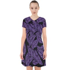 Tropical Leaves Purple Adorable In Chiffon Dress