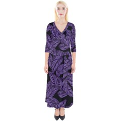 Tropical Leaves Purple Quarter Sleeve Wrap Maxi Dress