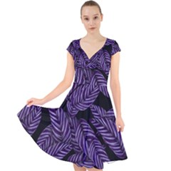 Tropical Leaves Purple Cap Sleeve Front Wrap Midi Dress