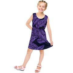 Tropical Leaves Purple Kids  Tunic Dress