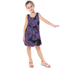 Tropical Leaves Purple Kids  Sleeveless Dress