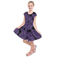 Tropical Leaves Purple Kids  Short Sleeve Dress