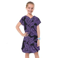 Tropical Leaves Purple Kids  Drop Waist Dress