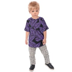 Tropical Leaves Purple Kids Raglan Tee