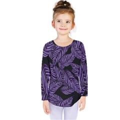 Tropical Leaves Purple Kids  Long Sleeve Tee