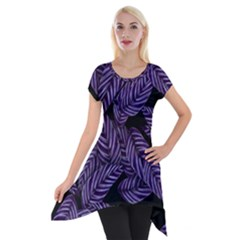 Tropical Leaves Purple Short Sleeve Side Drop Tunic