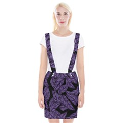 Tropical Leaves Purple Braces Suspender Skirt