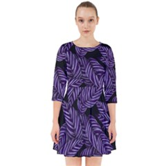 Tropical Leaves Purple Smock Dress