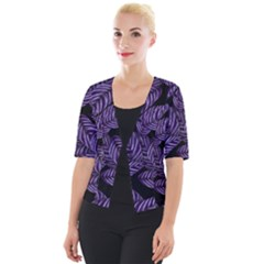 Tropical Leaves Purple Cropped Button Cardigan
