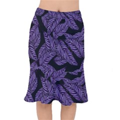 Tropical Leaves Purple Mermaid Skirt