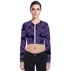 Tropical Leaves Purple Zip Up Bomber Jacket