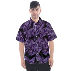 Tropical Leaves Purple Men s Short Sleeve Shirt